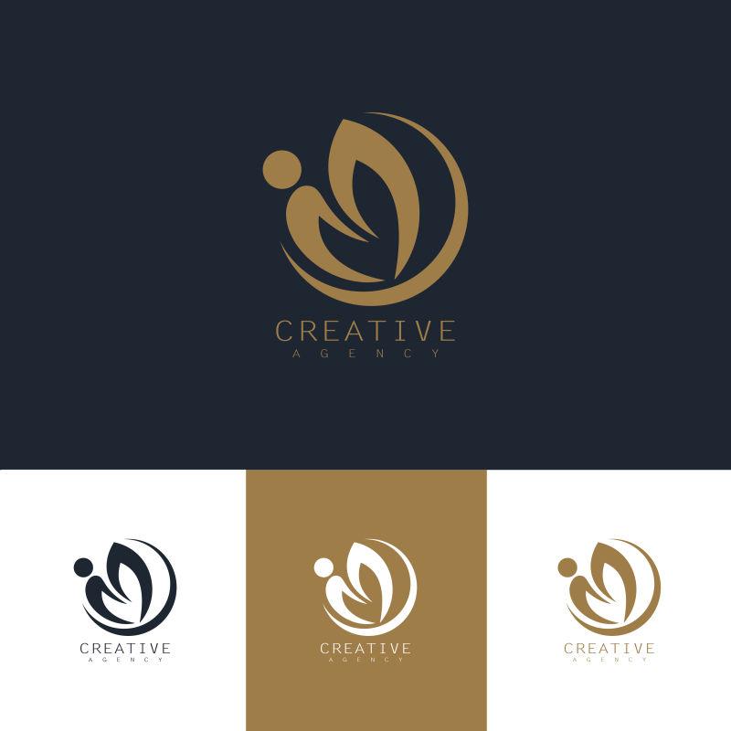 抽象矢量金色圆叶元素标志设计