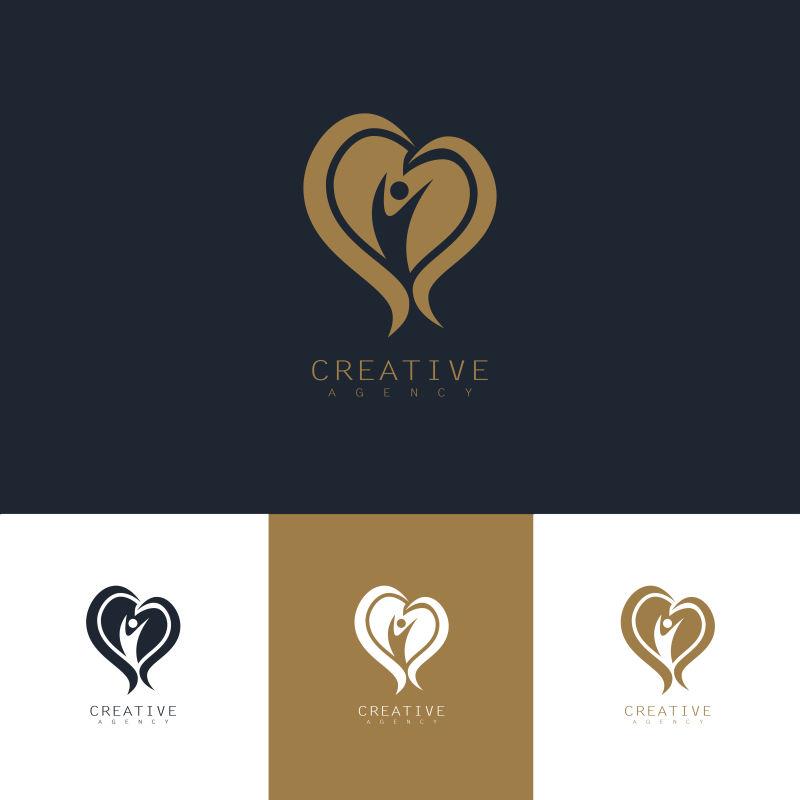 抽象矢量关爱身体健康主题的标志设计