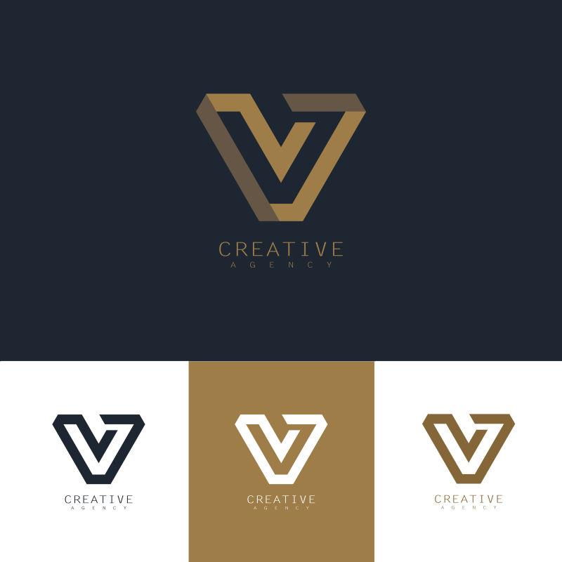 创意矢量现代金色字母v标志设计