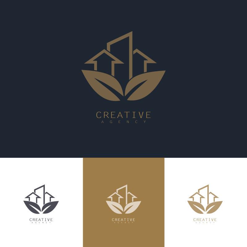 抽象矢量生态住宅元素的商业标志设计