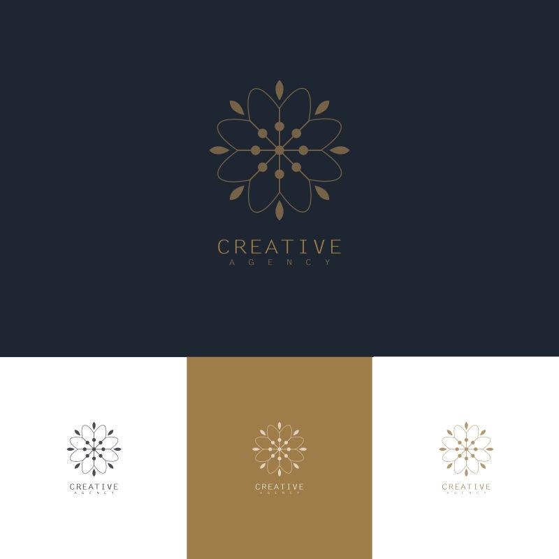 创意矢量现代花卉元素标志设计