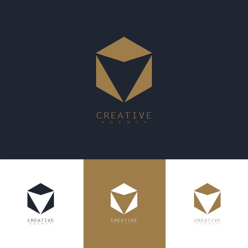 抽象矢量现代彩色几何标志设计