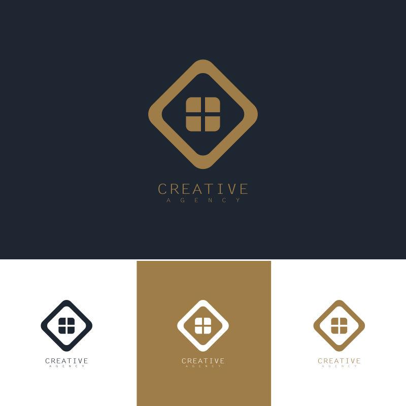 抽象矢量现代方形元素的标志设计
