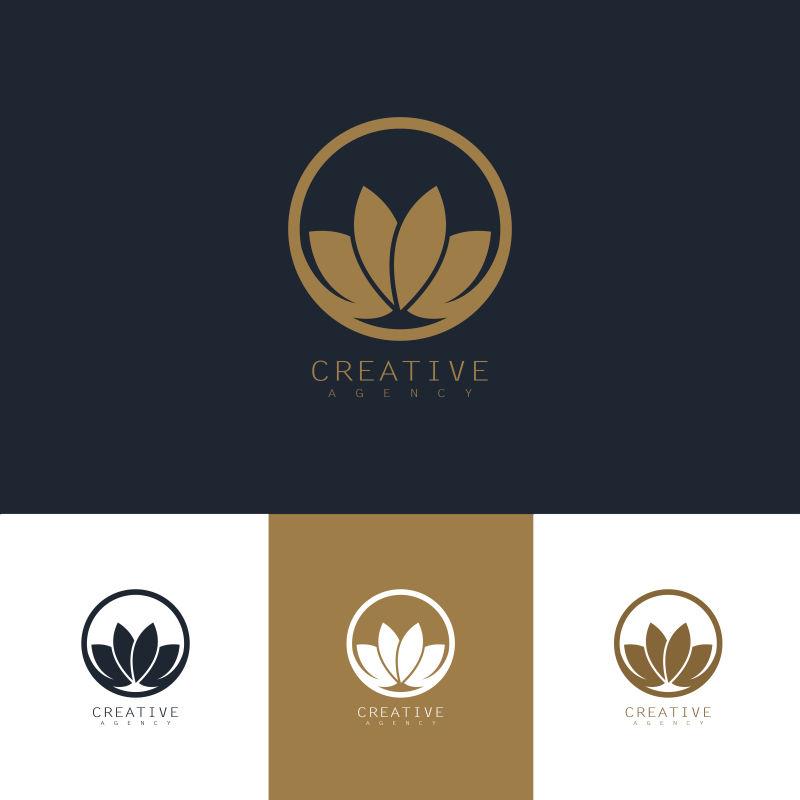 抽象矢量现代金色花卉元素标志设计