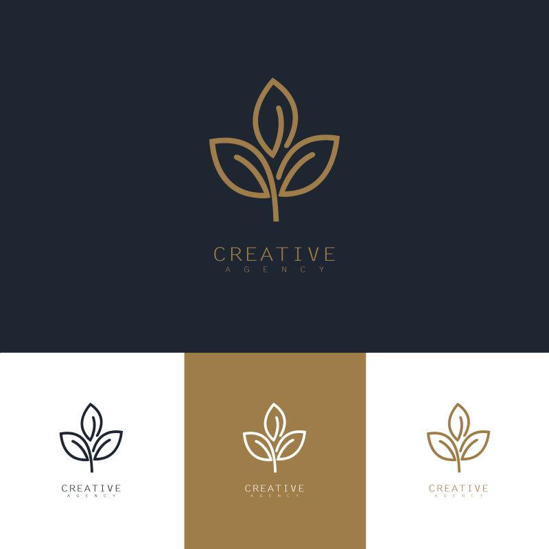 创意矢量花卉轮廓标志设计