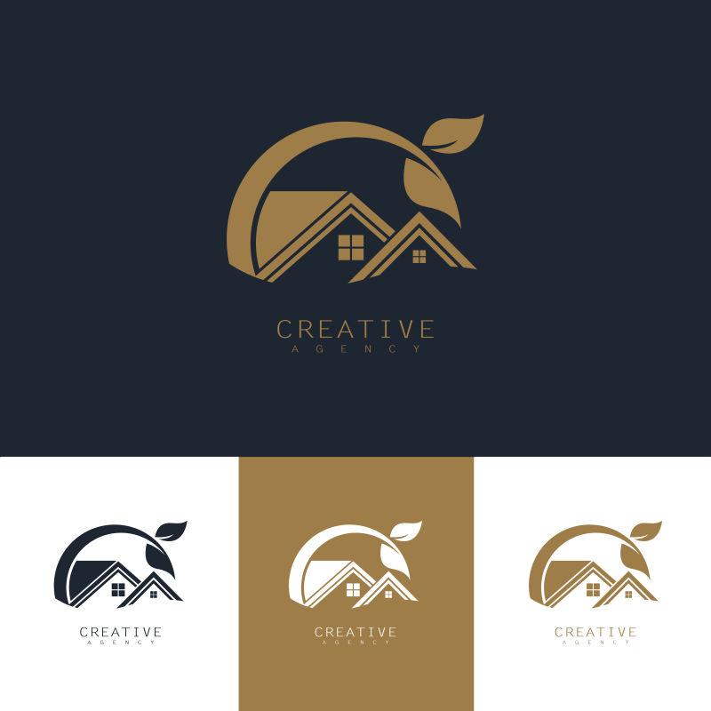 创意矢量生态房屋标志设计