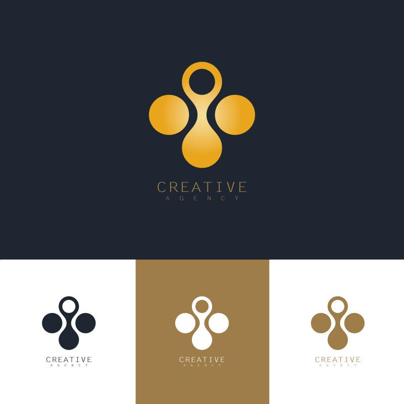 抽象矢量创意圆形分子标志设计