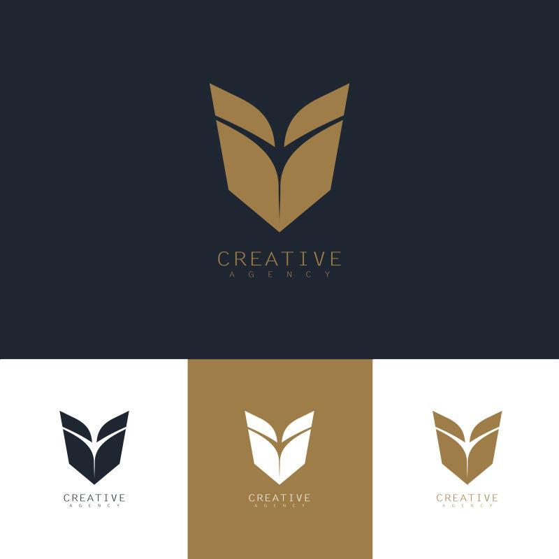 创意矢量金色盾牌标志设计