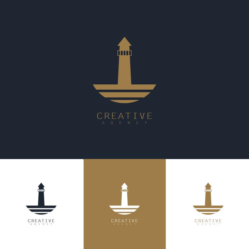 创意矢量灯塔元素标志设计