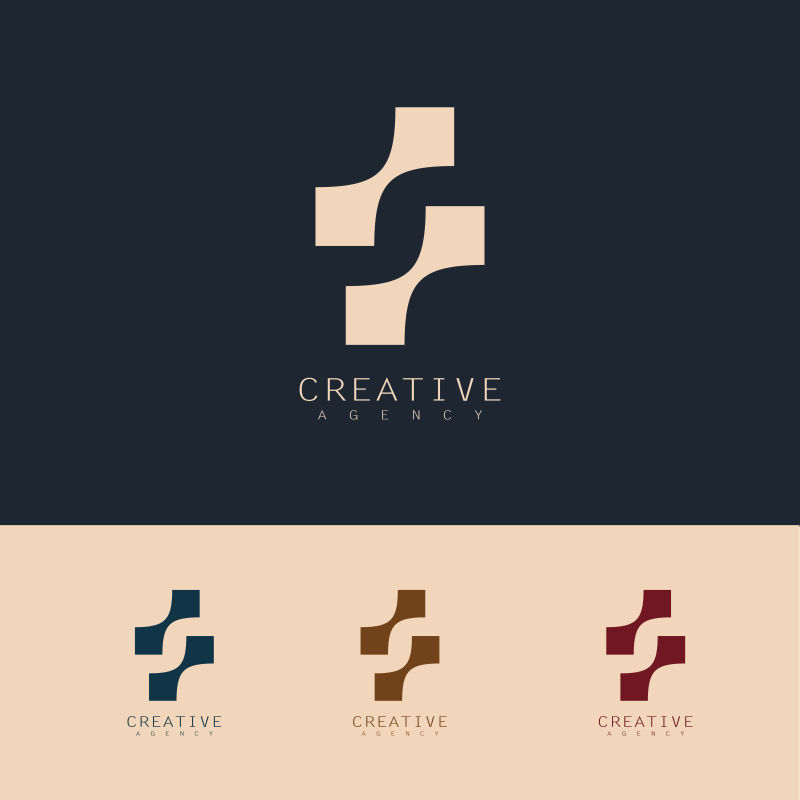 创意矢量几何抽象商业标志设计