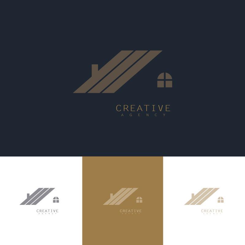 创意矢量屋顶元素标志设计
