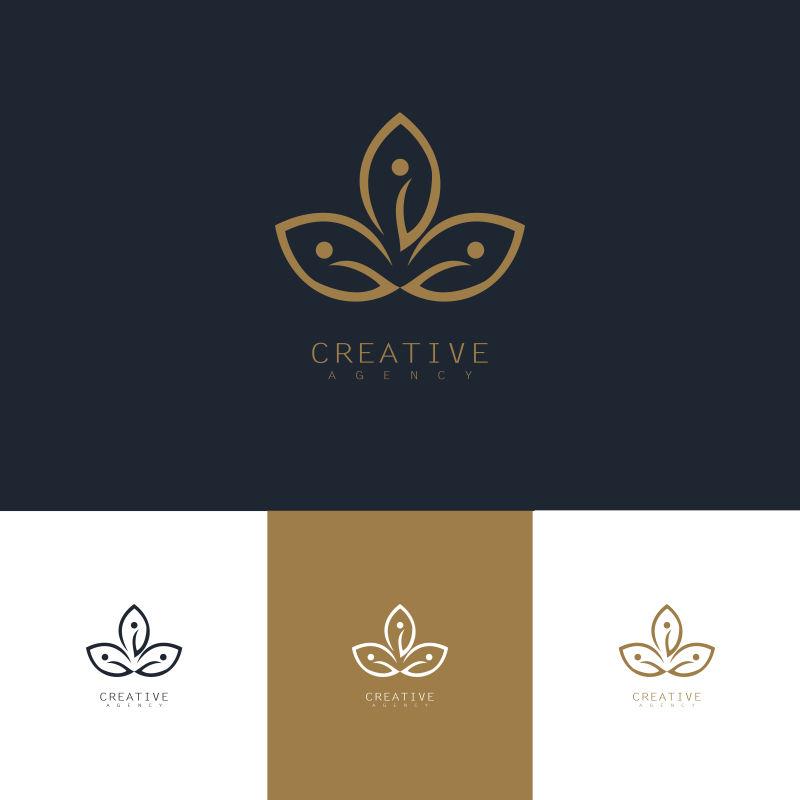 创意矢量叶子轮廓标志设计