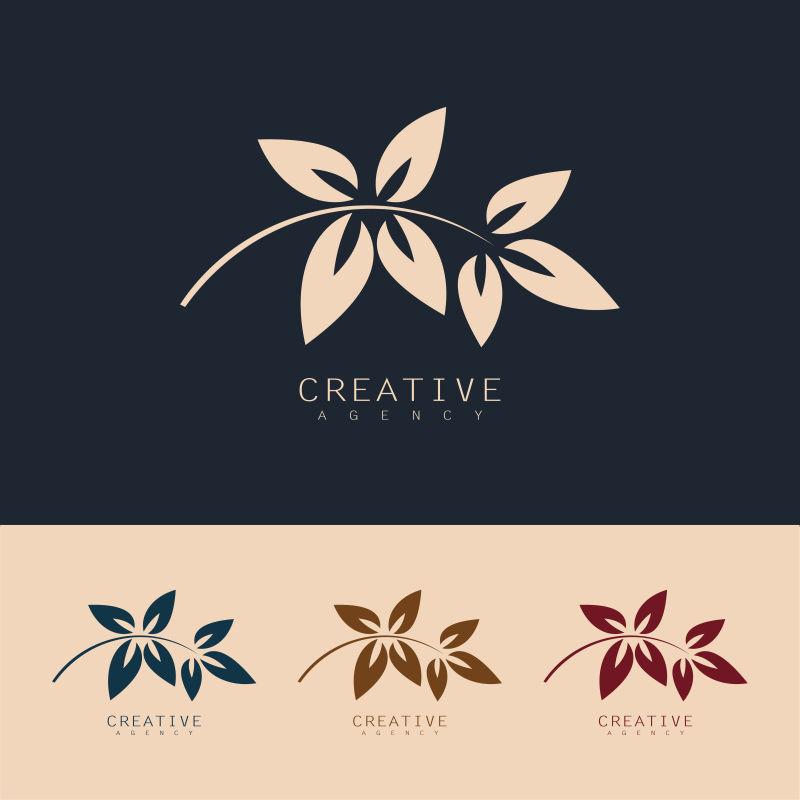 创意矢量美丽叶子元素标志设计