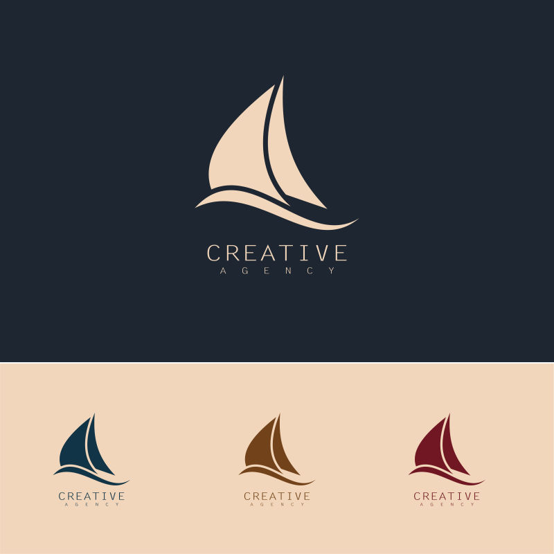 矢量抽象帆船元素标志设计