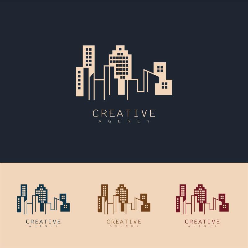 抽象矢量现代城市建筑元素标志设计