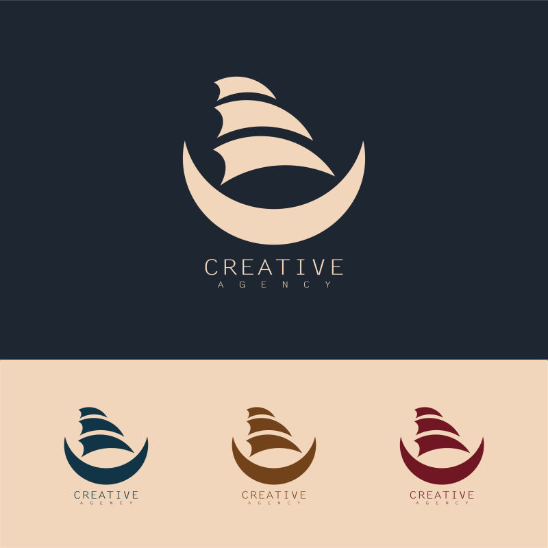 抽象矢量现代帆船元素标志设计