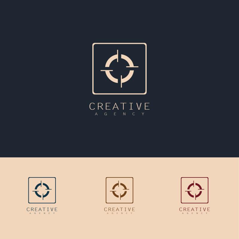 抽象矢量目标瞄准主题标志设计