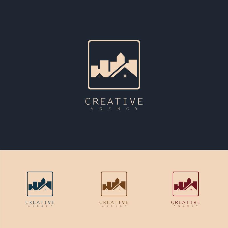 抽象矢量城市主题标志设计