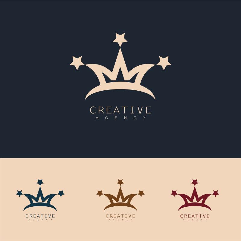 抽象矢量现代皇冠元素标志设计