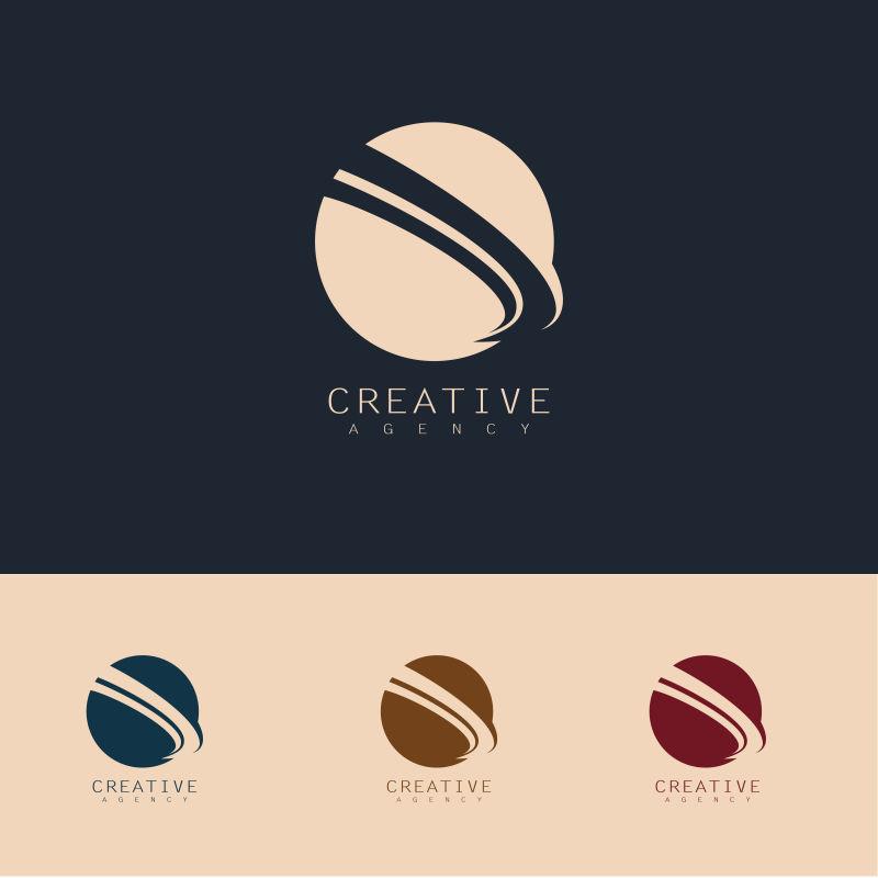 抽象矢量现代圆形轨道标志设计