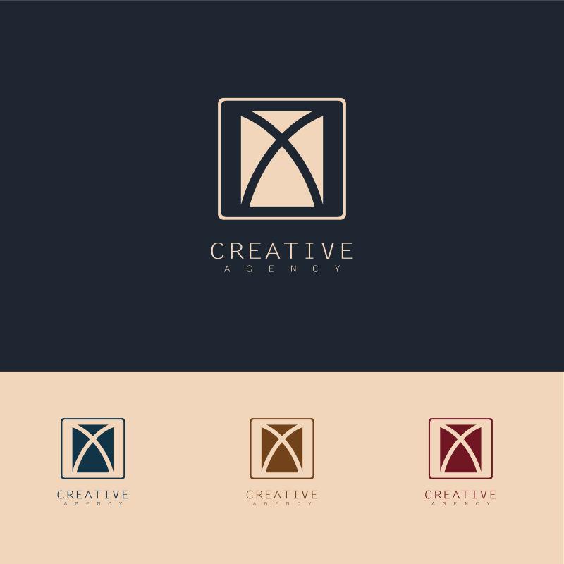 抽象矢量现代字母x创意方形标志设计