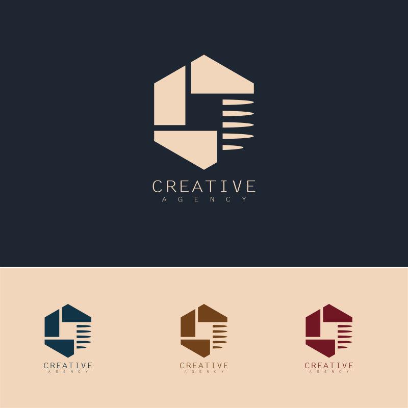 抽象矢量六边形创意标志设计