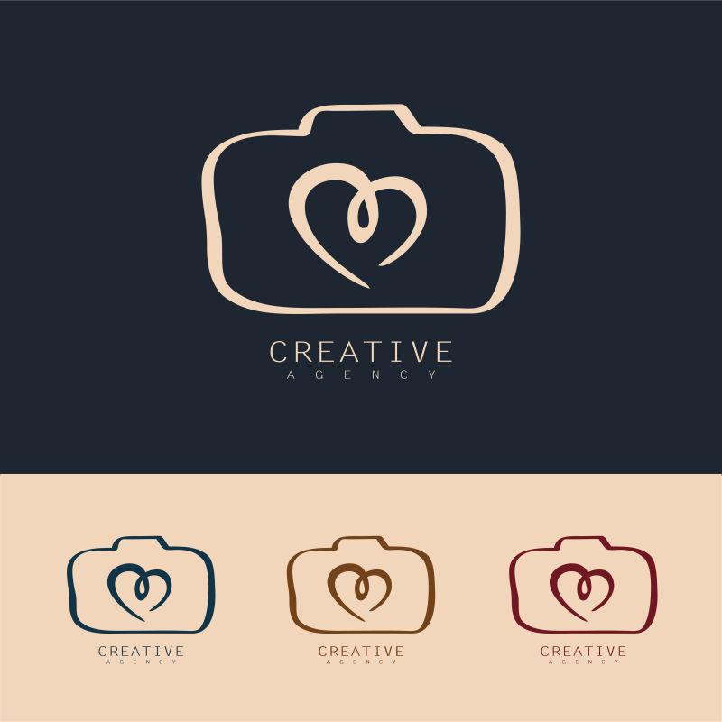 抽象矢量现代爱心元素的商业标志设计