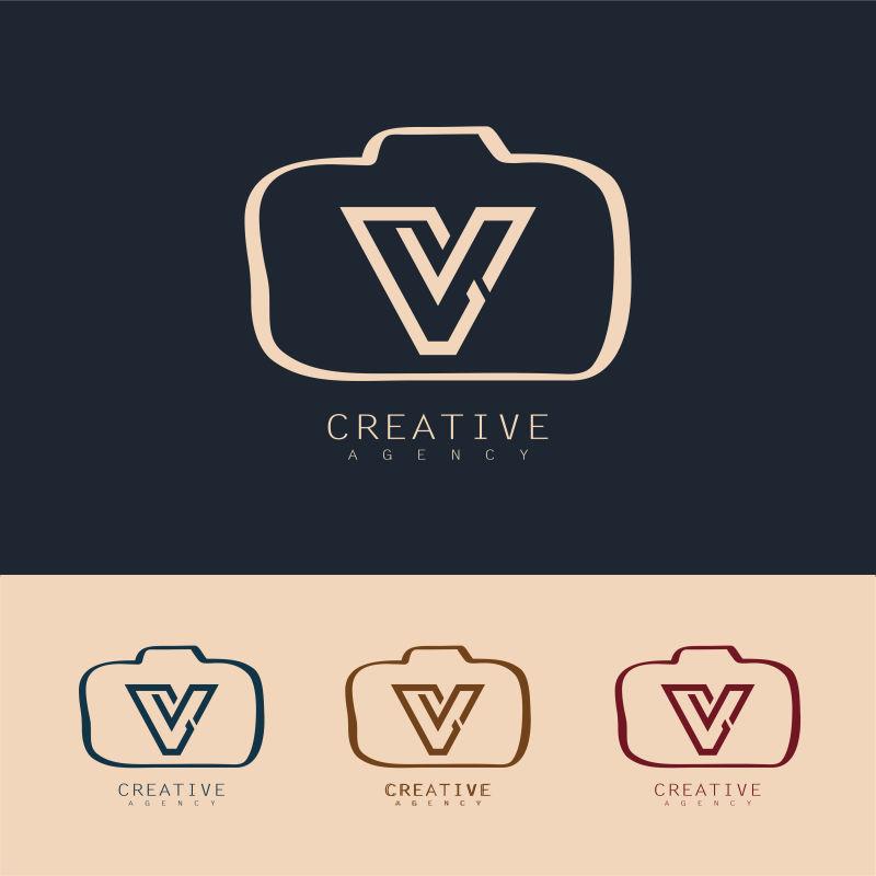 创意矢量字母v元素的相机标志设计
