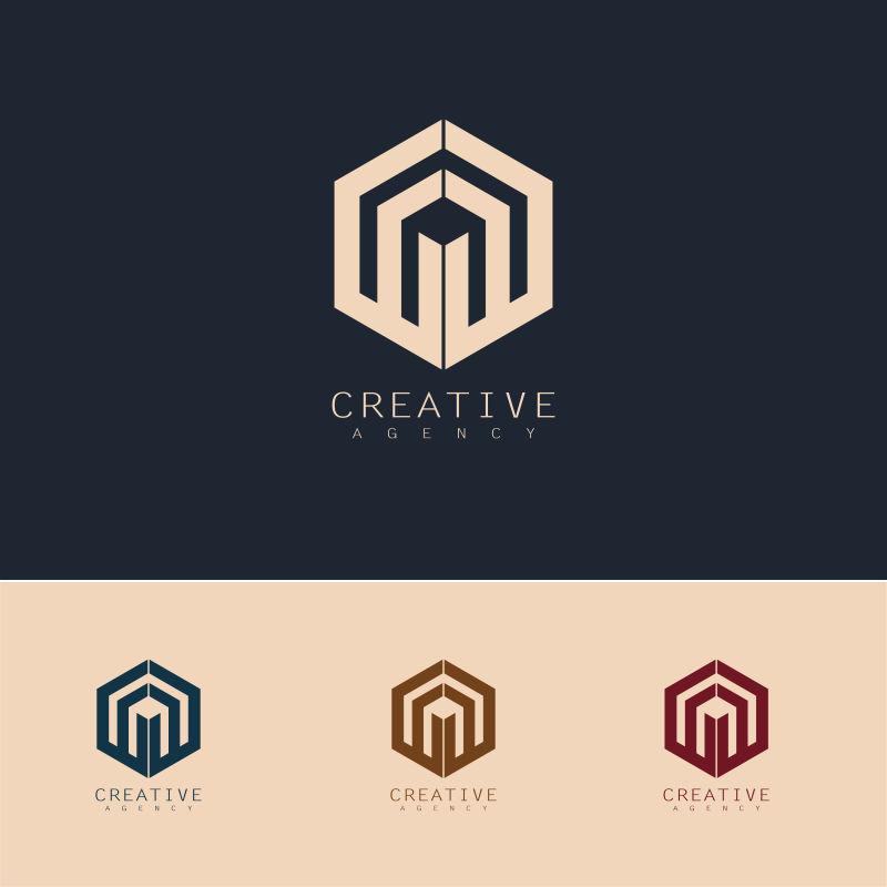 抽象矢量现代多边形标志设计