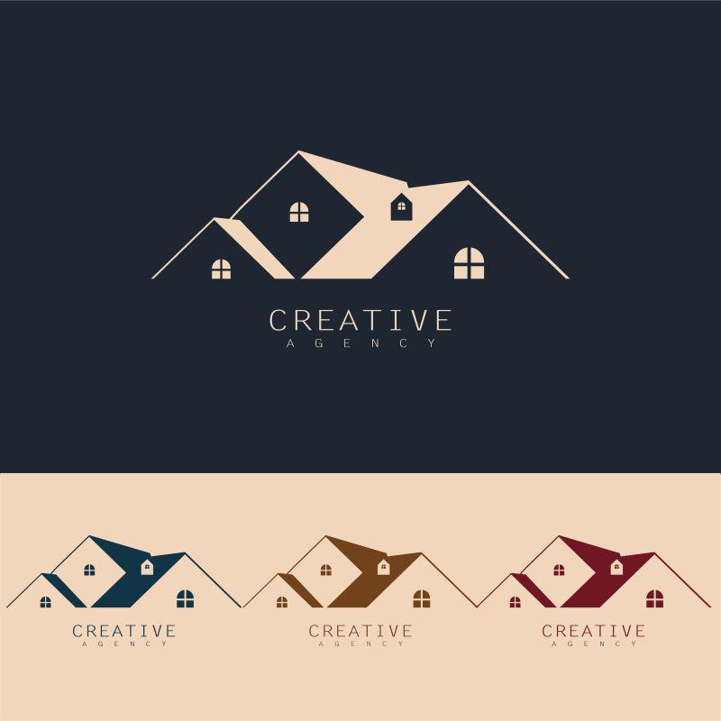 抽象矢量现代房屋元素标志创意设计