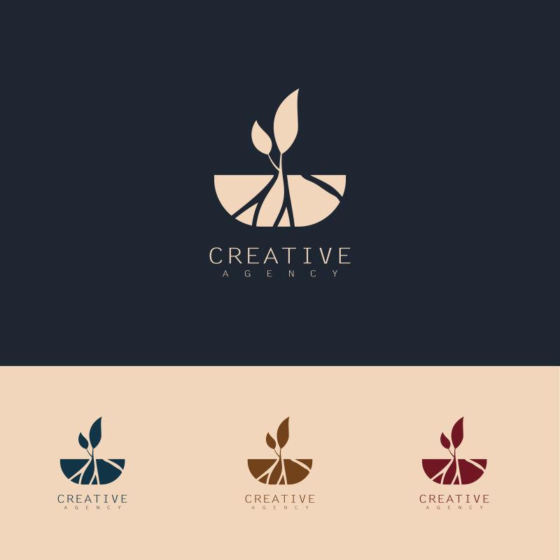 抽象矢量现代种子生长标志设计