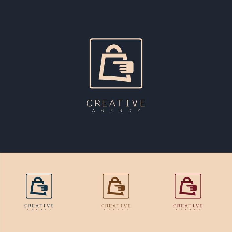 抽象矢量金色网上商店标志设计