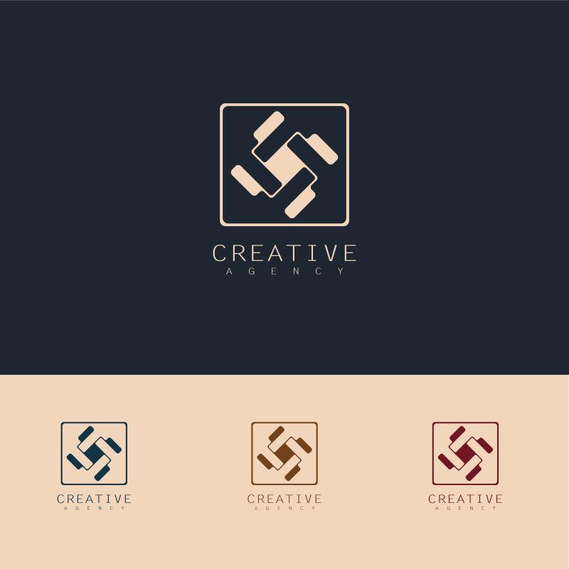 创意矢量几何风扇标志设计