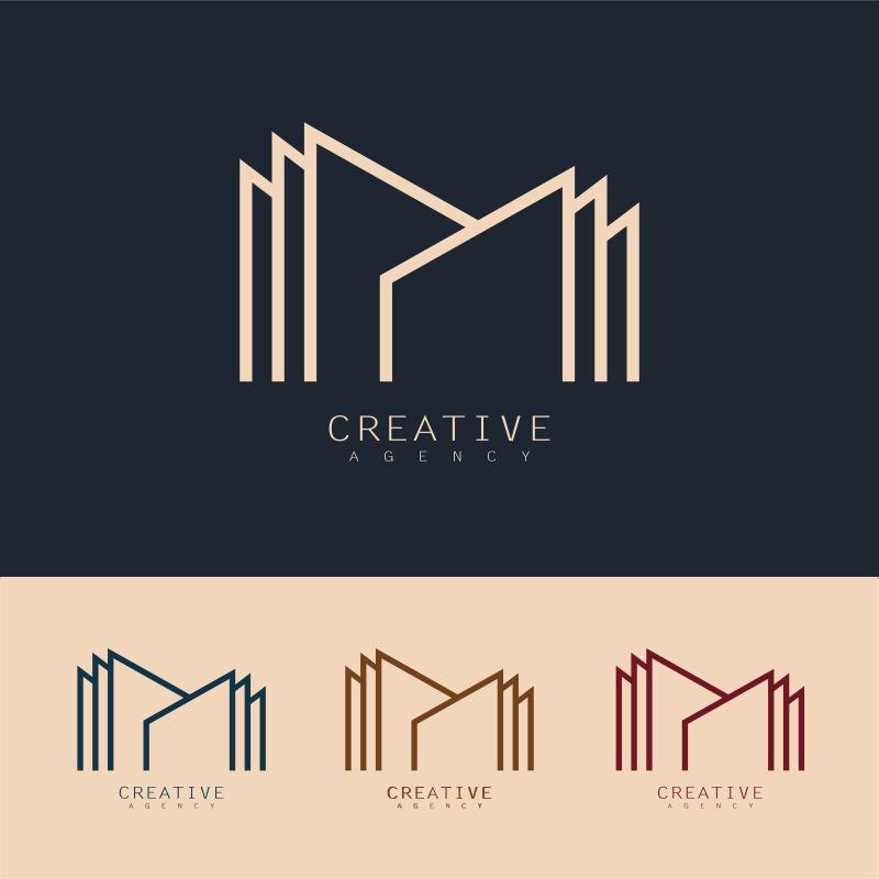 创意矢量现代线性建筑标志设计