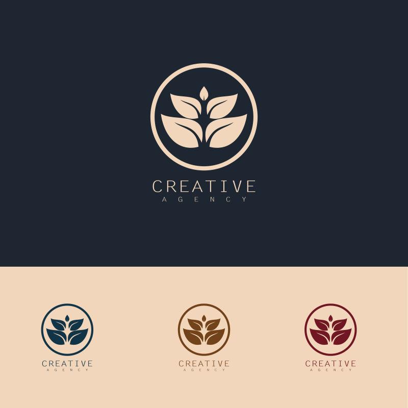 创意矢量叶子生长的标志设计