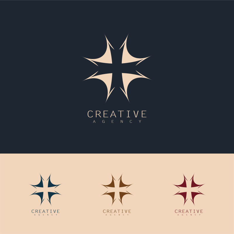 抽象矢量十字创意标志设计