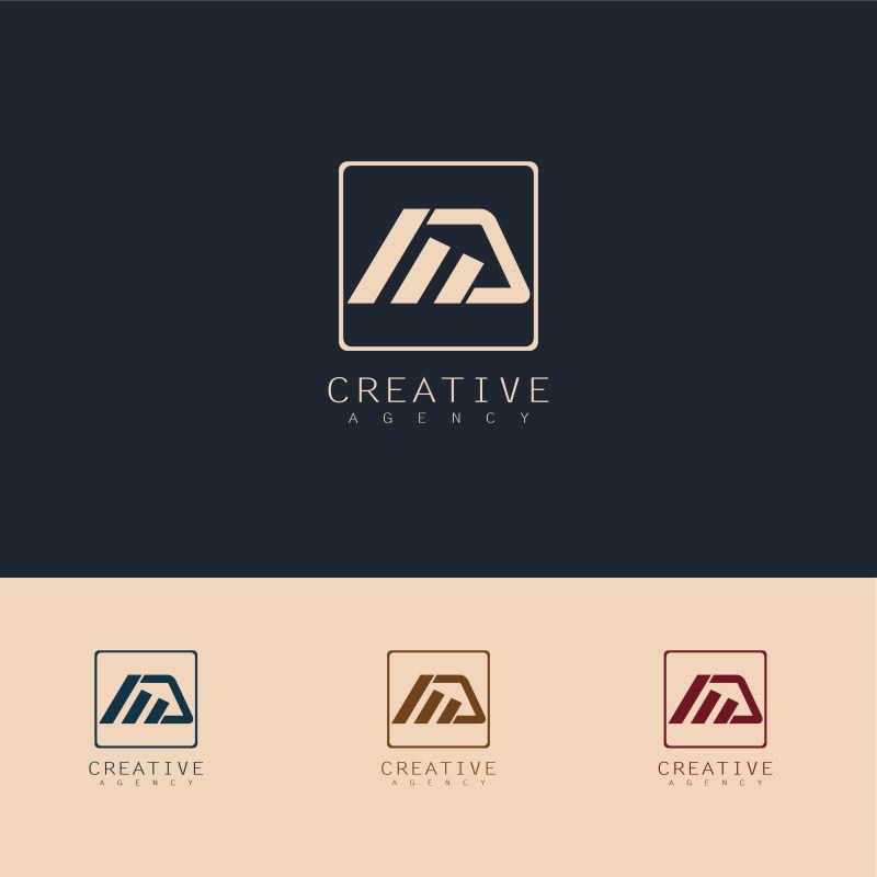 抽象矢量创意梯形商业标志设计