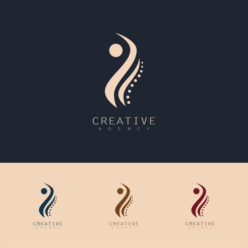 抽象矢量人体健康主题的标志设计