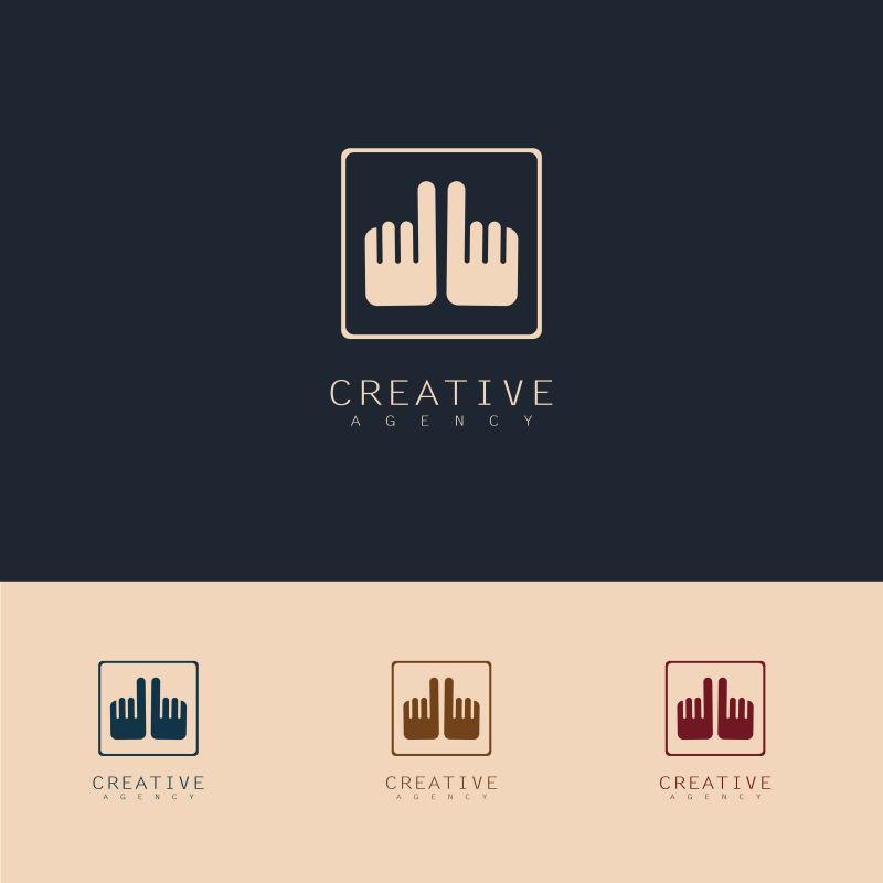 抽象矢量双手元素标志设计