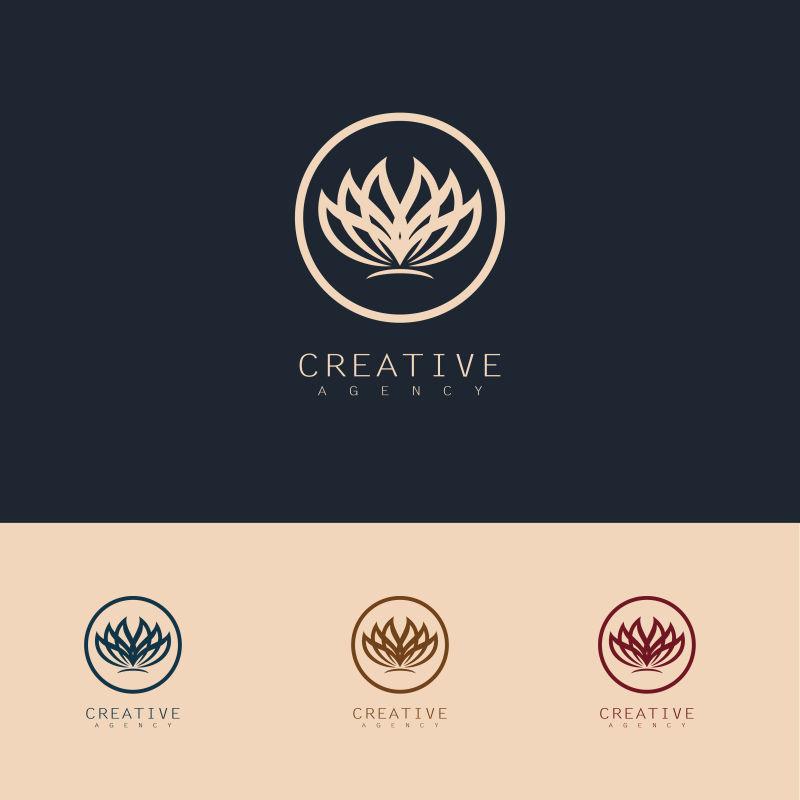抽象矢量盛开的花标志设计