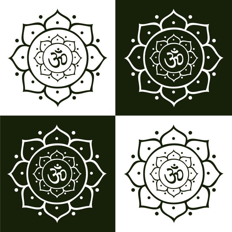 曼陀罗黑白图案