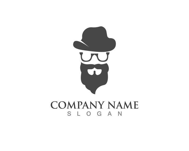 创意矢量胡子男人元素标志设计