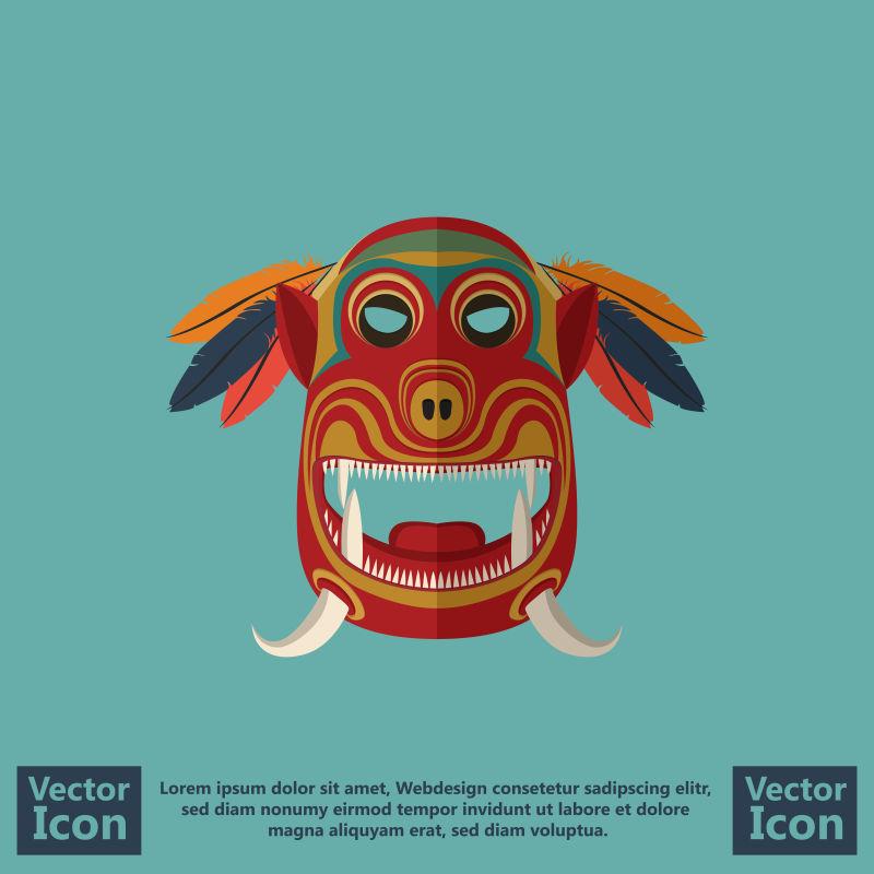 抽象矢量长牙元素的民族面具设计