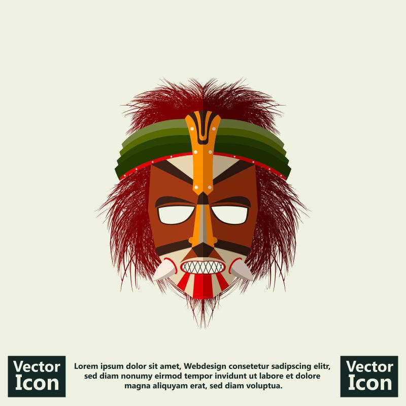 抽象矢量部落风格的面具平面设计插图