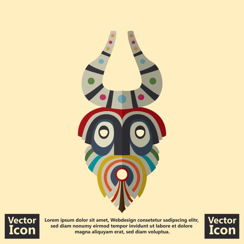 抽象矢量现代部落动物面具设计