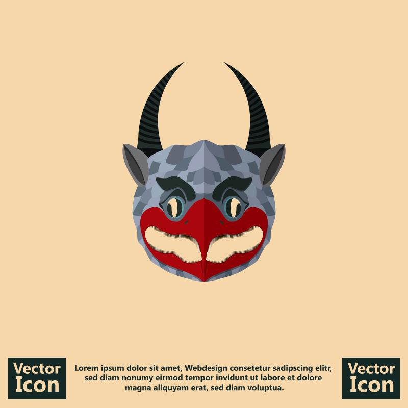 抽象矢量可爱小恶魔面具设计