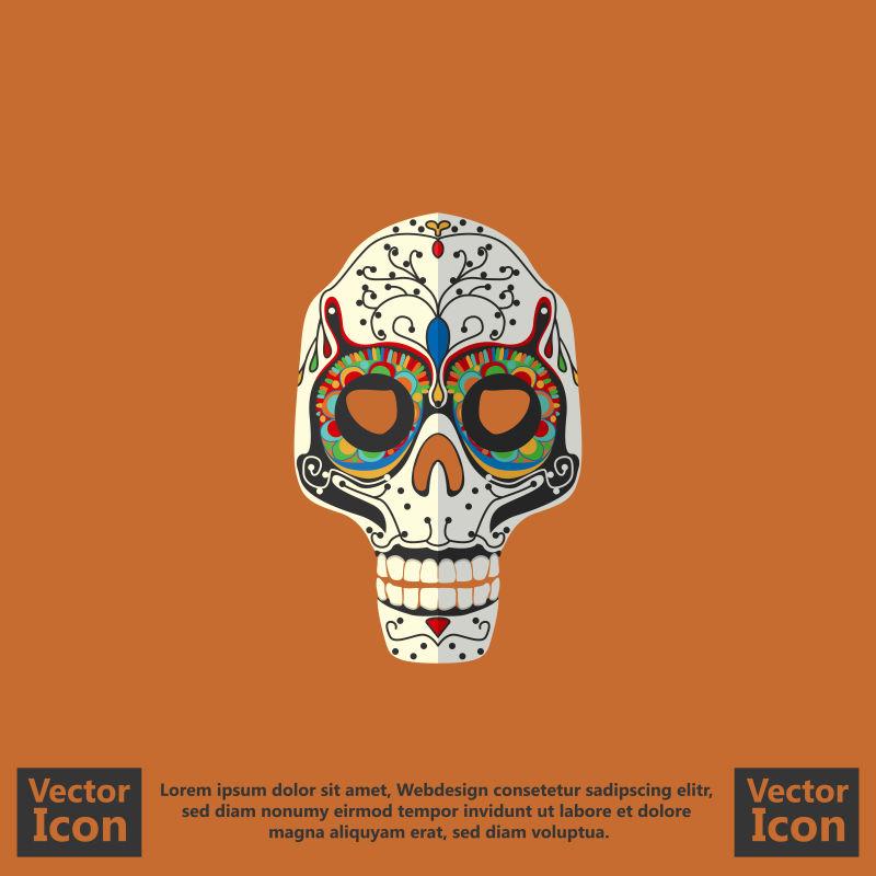 抽象矢量墨西哥风格的面具装饰设计