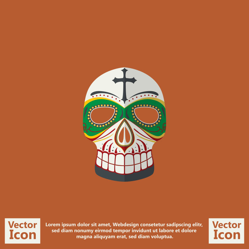 抽象矢量现代墨西哥装饰风格面具设计