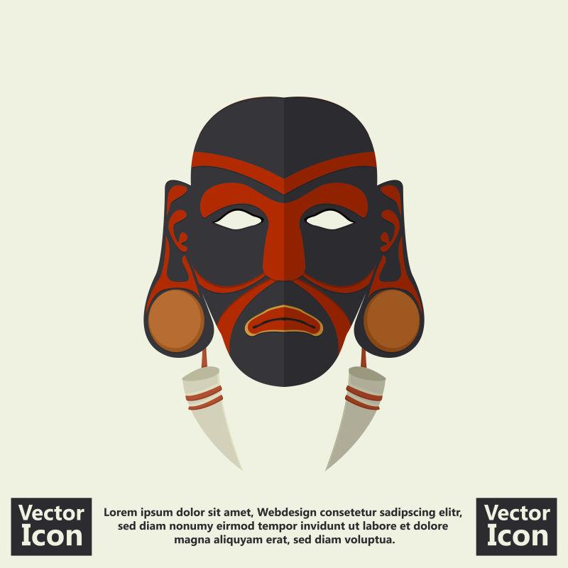 抽象矢量民族部落面具设计