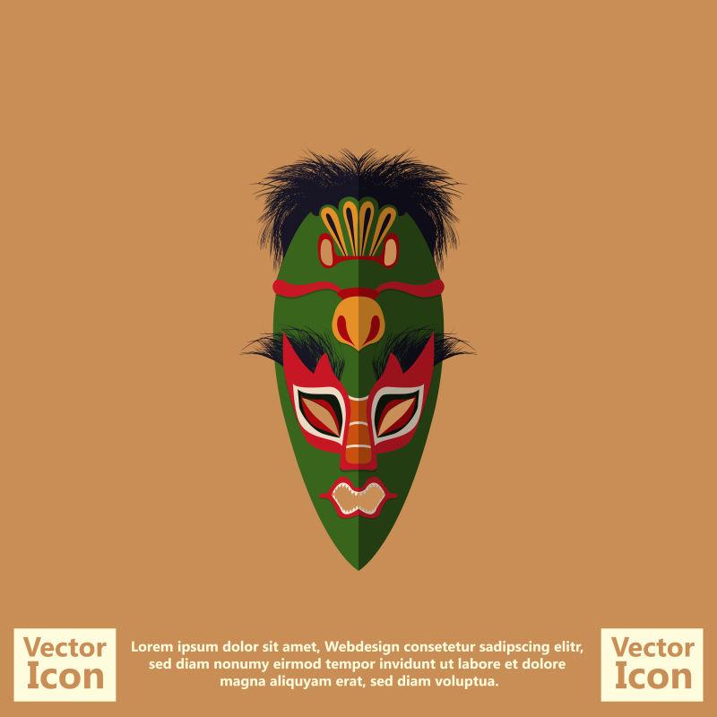 抽象矢量装饰风格的部落面具设计